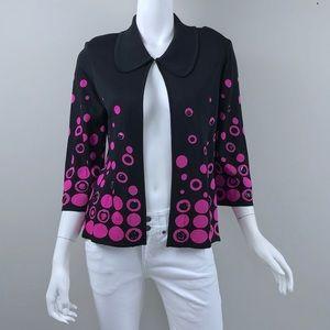 {Ming Wang} Black with Pink Circles Knit Jacket